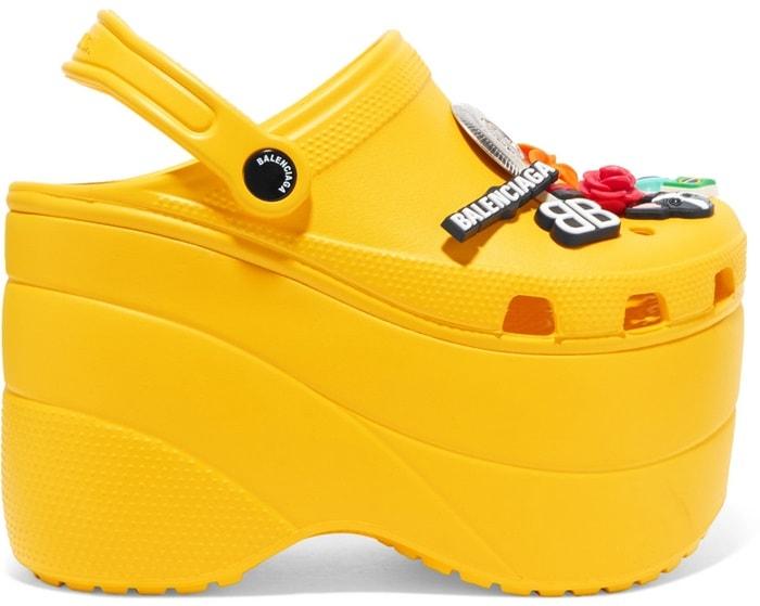 Yellow Embellished Rubber Platform Sandals