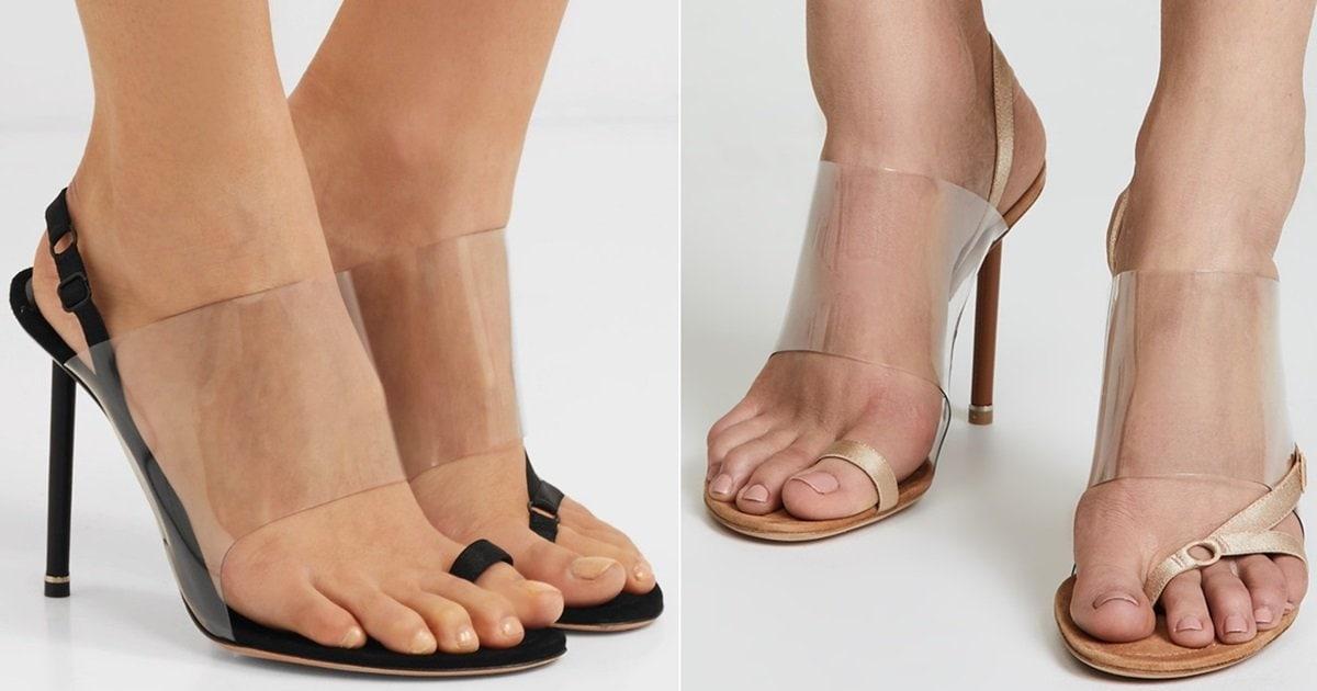 44a1510fd88 Kaia Grosgrain-Trimmed Suede & PVC Slingback Sandals