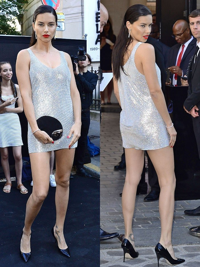 Adriana Lima in a Redemption Fall 2018  Haute Couture silver-glitter mini dress and eel-skin pumps.