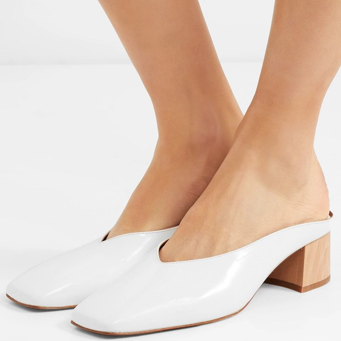 By FAR Karen Leather Mules With Angular Block Heels