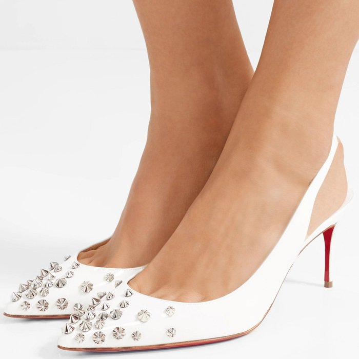 White Drama Sling studded patent-leather slingback pumps