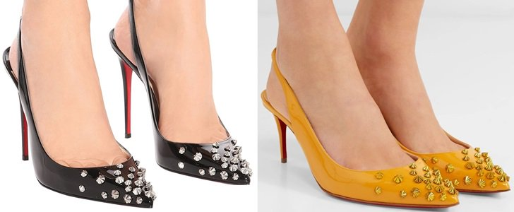 Add Instant Drama To Your Look With Spiked Slingback Pumps by Christian Louboutin