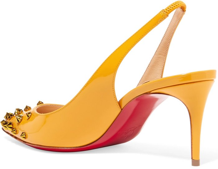 Yellow 'Drama Sling' studded patent-leather slingback pumps