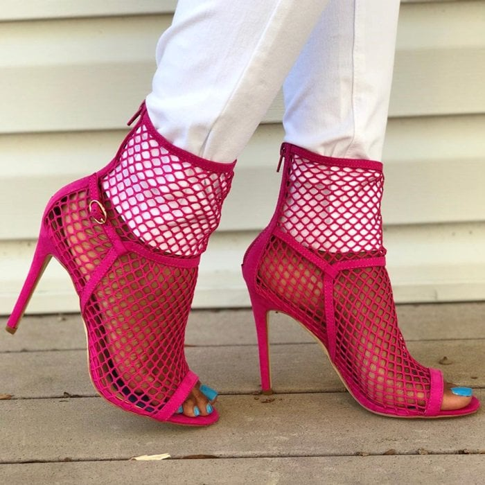 Sexy fuchsia fishnet sock shootie stiletto sandal with open toe and functional back zip