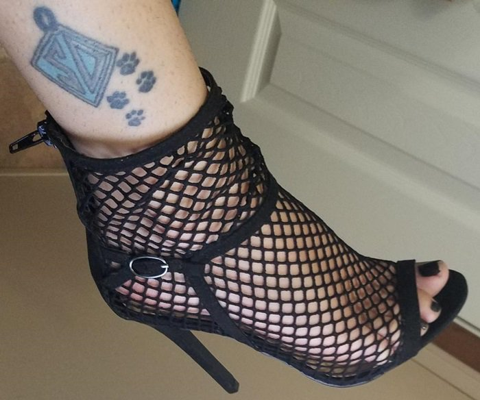 Sexy black fishnet sock shootie stiletto sandal with open toe and functional back zip