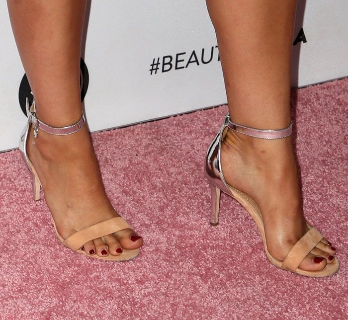 a64adfb24ea Ellie Color-Block Ankle-Strap Sandals Worn by Camila Mendes at Beautycon