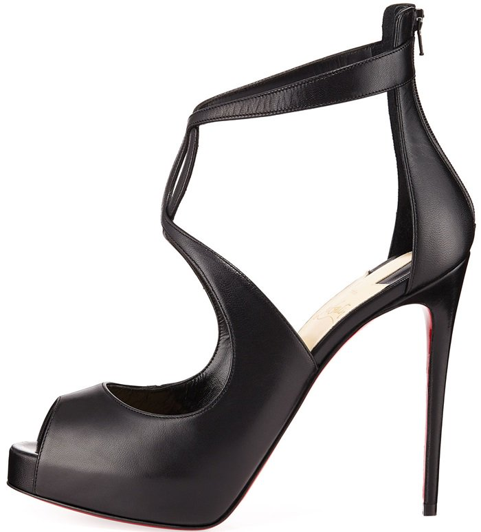 Black Leather Christian Louboutin Rosie Peep Toe Pumps With Curvy Criss-Cross Straps & Keyhole Detail