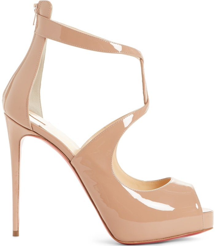 Nude Patent Christian Louboutin Rosie Peep Toe Pumps With Curvy Criss-Cross Straps & Keyhole Detail