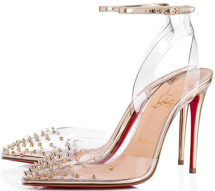 Metal studs poke out of the transparent PVC toe in Christian Louboutin's Spikoo stilettos