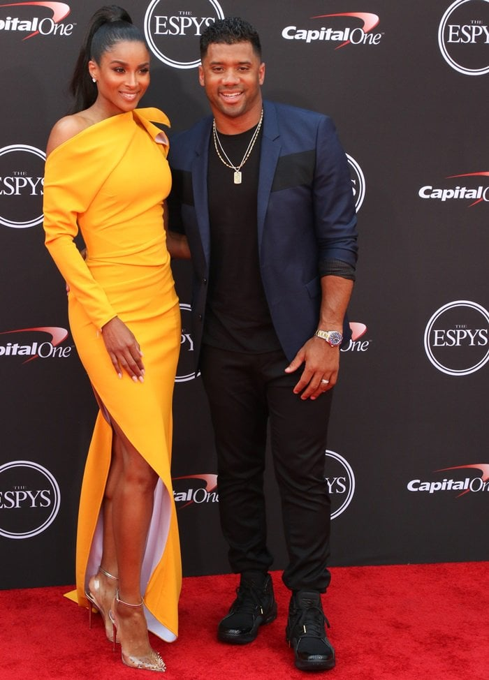 Ciara and Russell Wilson hit the red carpet in style for the 2018 ESPYs held at Microsoft Theater in Los Angeles on July 18, 2018