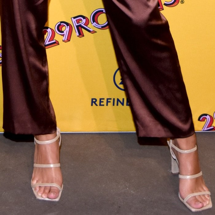 Emily Ratajkowski shows off her feet in elegant sandals from the limited edition Nine West 40th Anniversary Capsule collection