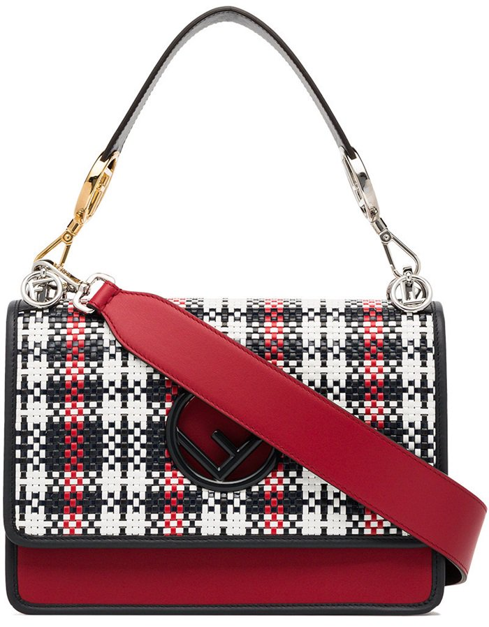 Red, black and white 'kan I F' woven leather shoulder bag