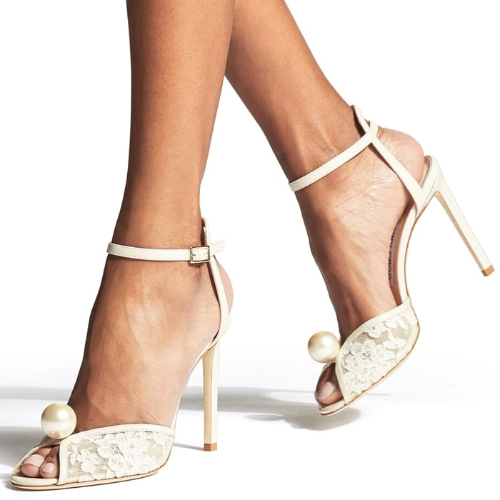 Sacora is a vintage-inspired sandal handcrafted in sophisticated ivory floral lace