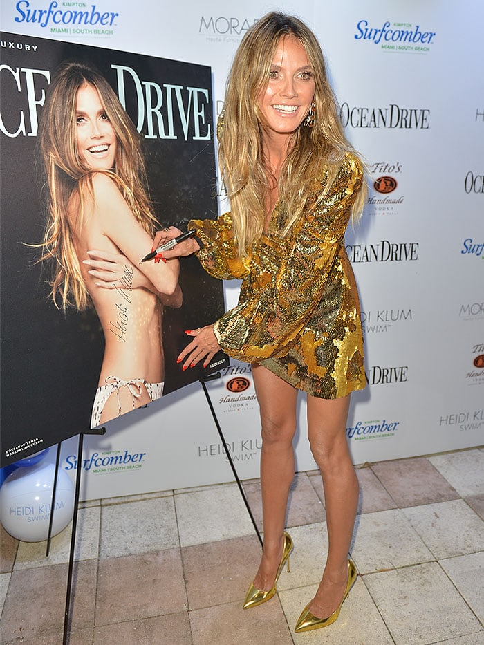 Heidi Klum in a gold sequin dress and metallic gold pumps at Ocean Drive's Magazine's 25th Anniversary Swimsuit Issue Celebration