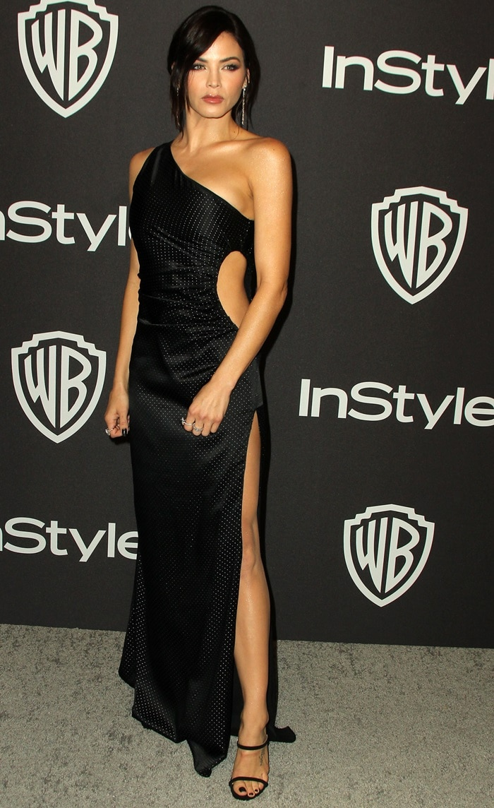Jenna Dewan rocked black suede 'G Heel' strappy mules with sculpted metal heels by Giuseppe Zanotti