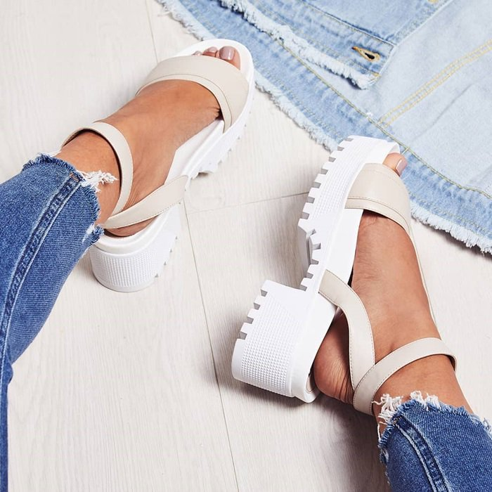 Kira Chunky Sandals in White