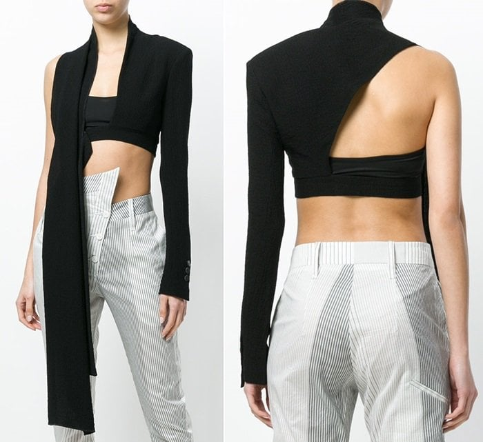 Black asymmetric-sleeve crop top from Lost & Found Ria Dunn