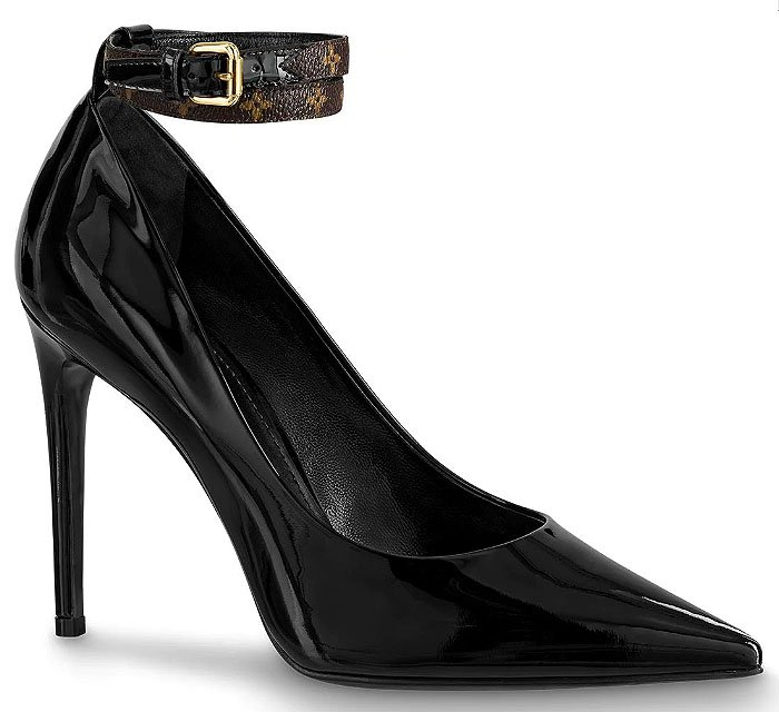 "Louis Vuitton ""Call Back"" Monogram-Ankle-Strap Patent Pumps"