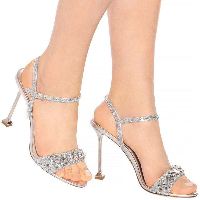 These sparkling leather sandals will give looks a touch of modern glamour