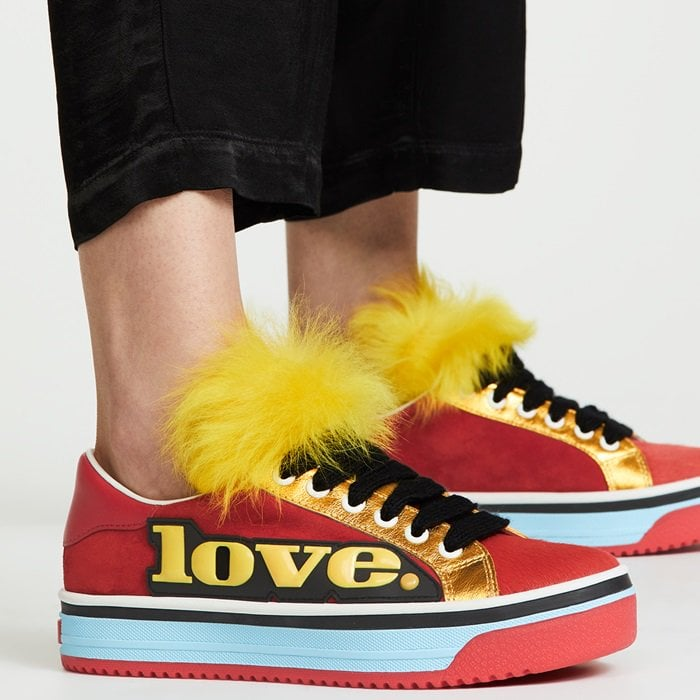 Fur-embellished statement sneakers