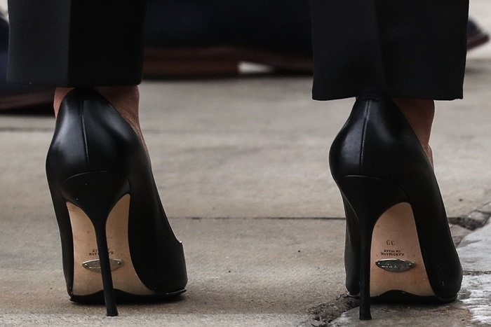 Meghan Markle rocking Sarah Flint's Perfect pointed toe pumps