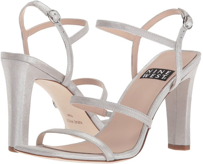 Nine West 40th Anniversary Capsule Collection Gabelle Sandals Silver Metallic