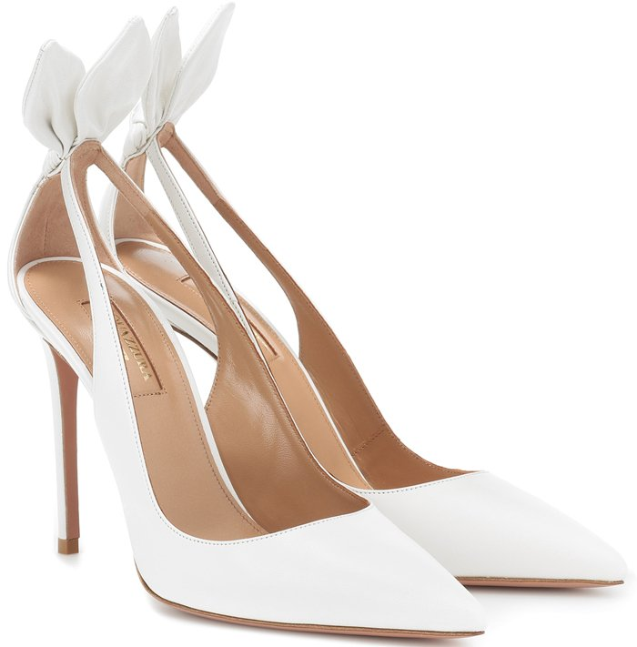 Crafted in Italy from leather, the style has a pointed toe, cutouts at the sides, and a knotted detail at the heel