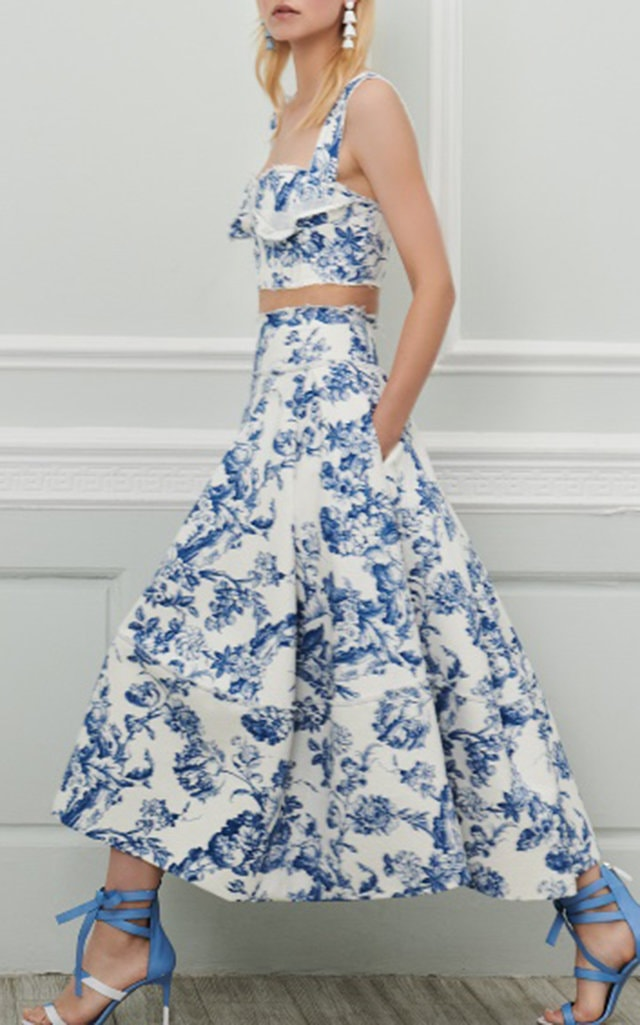 Oscar de la Renta Bustier Top and Midi Skirt
