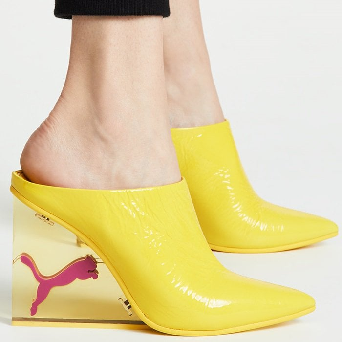 Blazing yellow PUMA x FENTY cat wedge mules