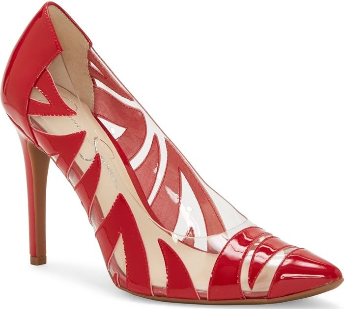 Palmra Clear Vinyl Pumps Red