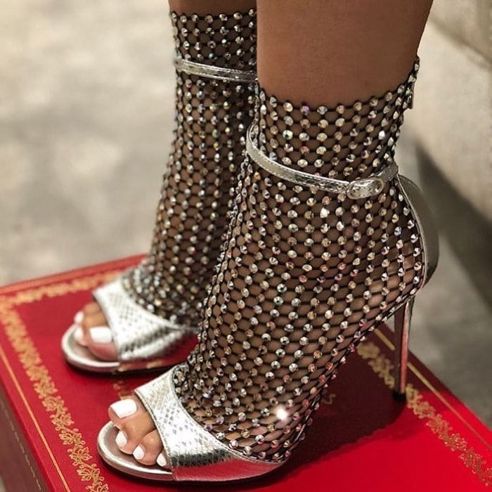 Open-toe sandal featuring an exquisite mesh insert scattered with tiny crystals