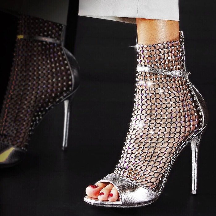 Open-toe Galaxia sandal featuring an exquisite mesh insert scattered with tiny crystals