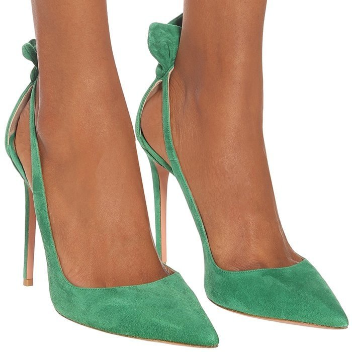 "Channeling the glamour of French screen sirens, the Deneuve 105 pumps from Aquazzura come in a rich ""Couture"" green"