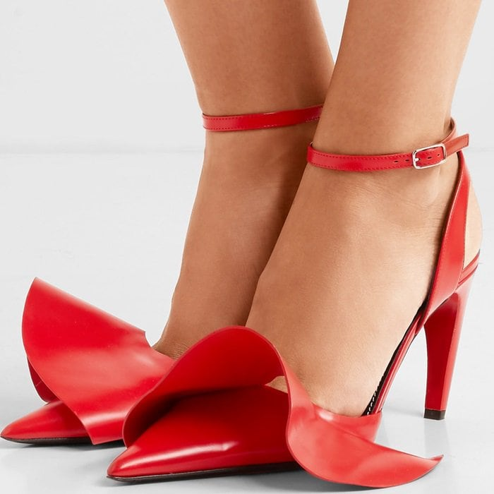 Ruffled glossed-leather pumps