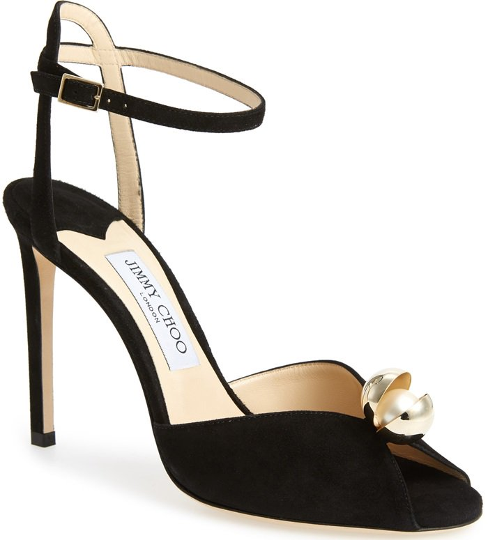 Black Suede Sacora Sandals With Oyster Bead Pearl