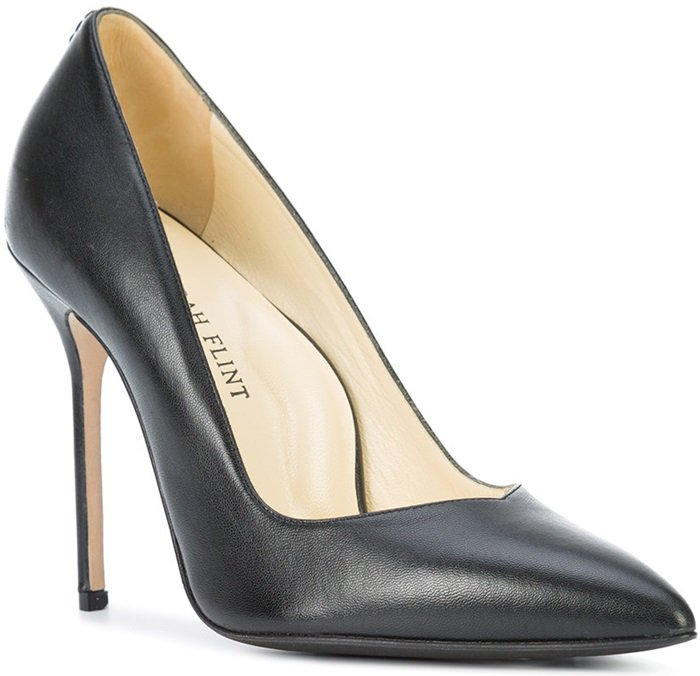 Black calf leather 'Perfect' pointed toe pumps from Sarah Flint featuring a branded insole and a high stiletto heel