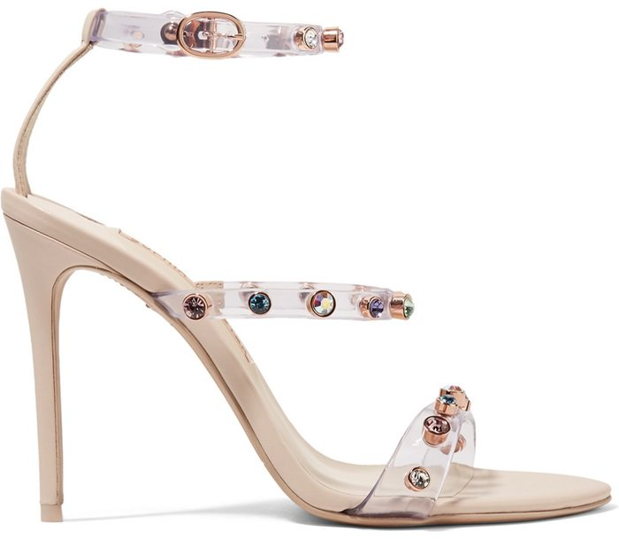 Introducing our Rosalind Gem sandal in elegant nude with clear vinyl multi straps embellished with coloured gems