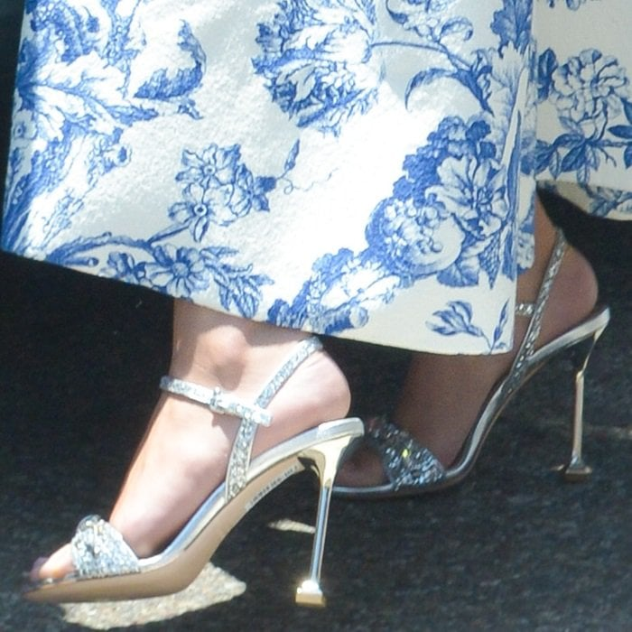 Selena Gomez showing off her bare feet in Miu Miu embellished sandals