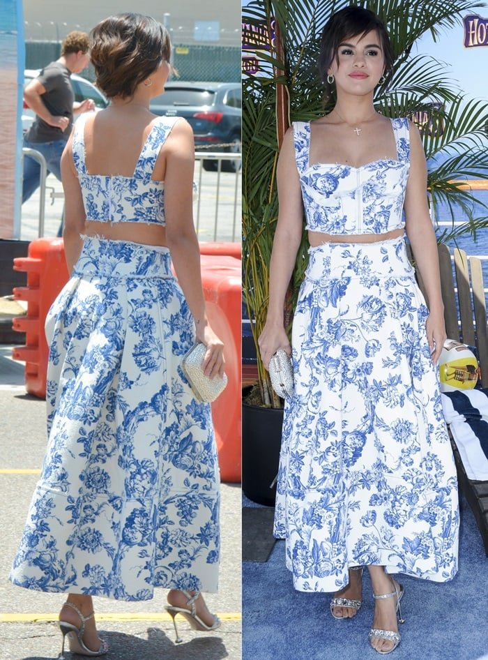Selena Gomez looked lovely in a white and blue floral Oscar de la Renta bustier top and midi skirt