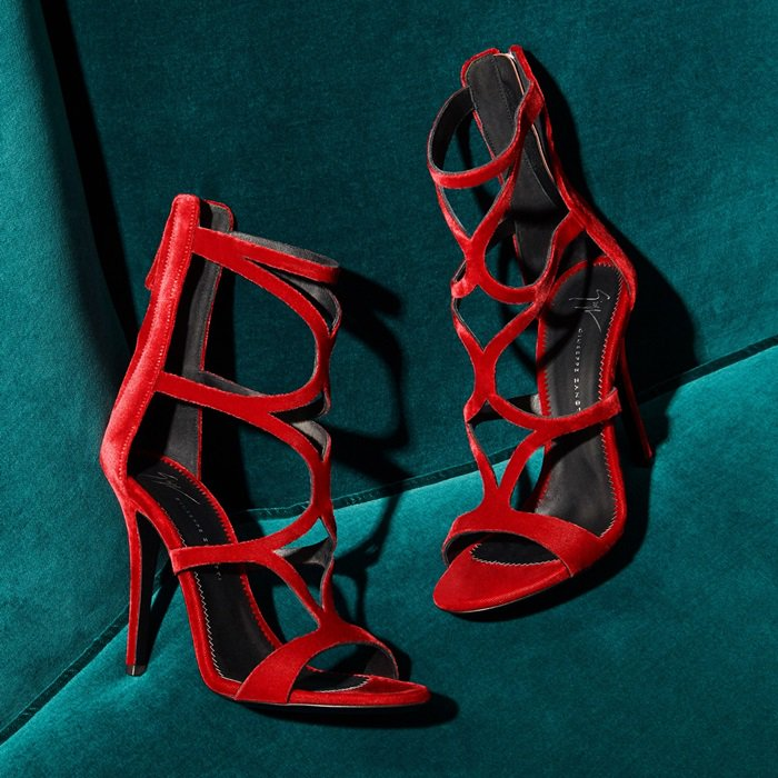 Striking Red Velvet 'Lorene' Cage Sandals