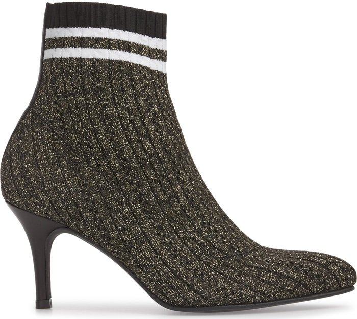 Stuart Weitzman takes on the sock boot trend with this pointy-toe style featuring a stretch-knit upper and athletic-inspired striped cuff