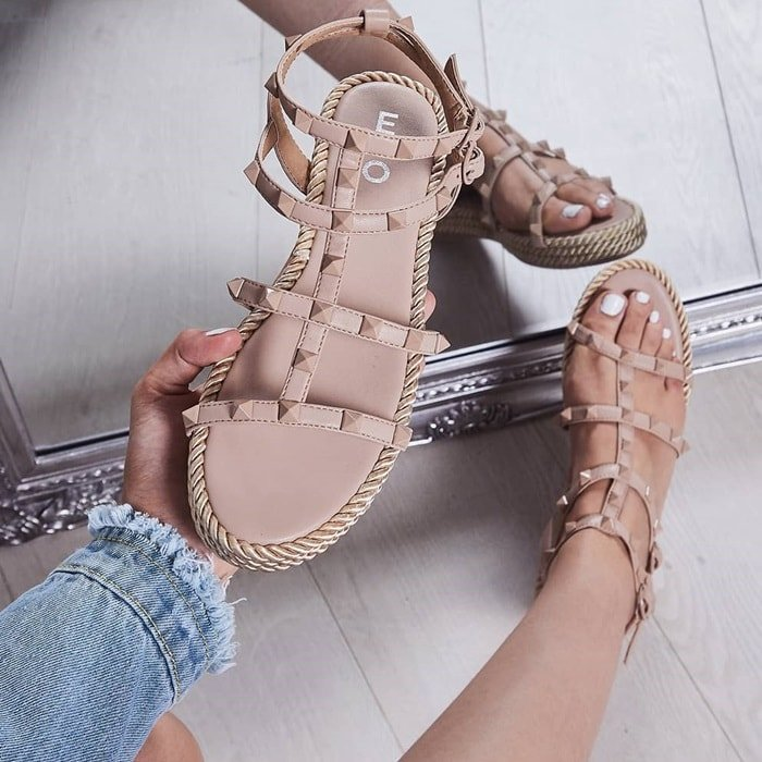 Nude Studded Detail Rope Espadrilles