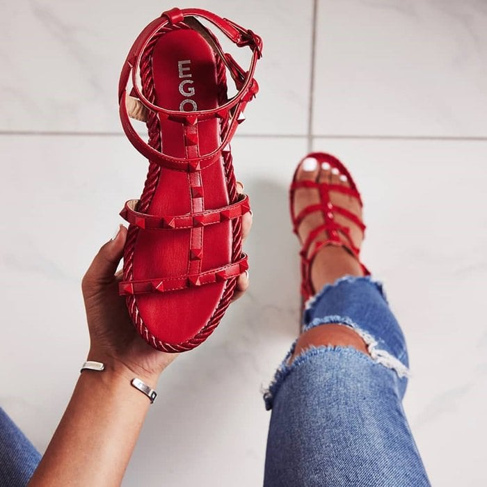 Red Studded Detail Rope Espadrilles