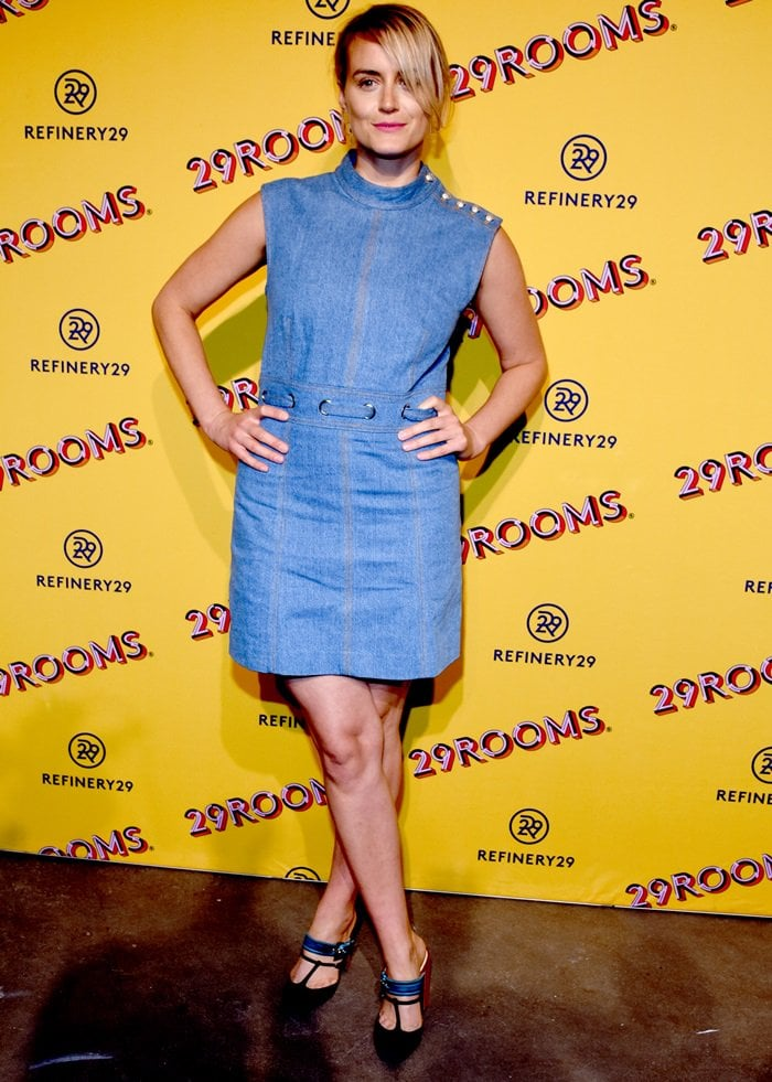 Taylor Schilling rocking a Veronica Beard denim dress