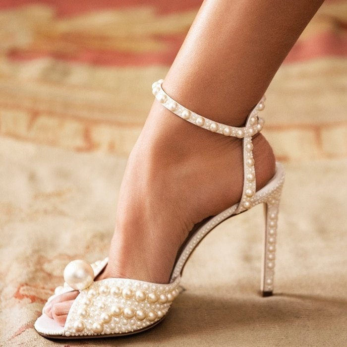White Satin Sacora Sandals With All Over Pearls