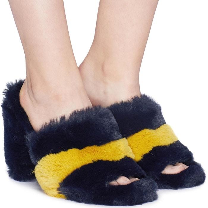 Yael Faux Fur Block Heel Mules