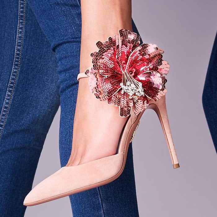 French rose Disco Flower 105 suede pumps