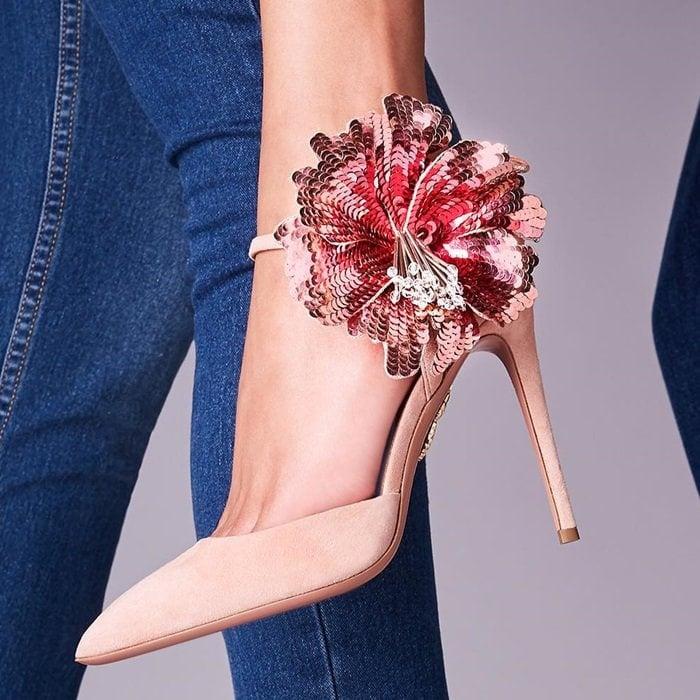 Frenchrose Disco Flower 105 suede pumps
