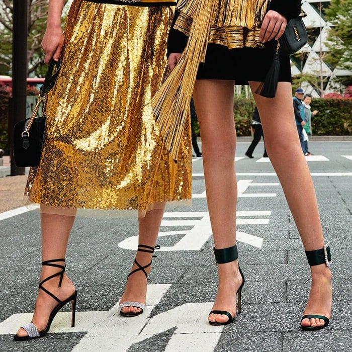 Models wearing shoes from Alexandre Vauthier's Pre-Fall 2018 Collection