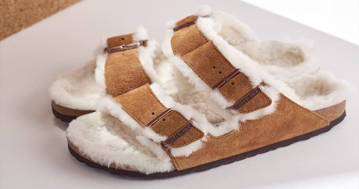 No need for cold toes this season, so cozy up with a classic, the soft Arizona Shearling sandal